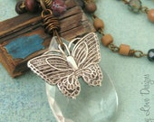 SOULFUL BUTTERFLY Long Necklace with VINTAGE Pendant, Recycled Glass and Wood ooak