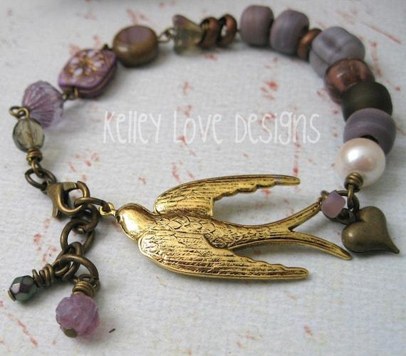 SPARROW Earthen Gypsy Bracelet in Lavender Purple with HEART