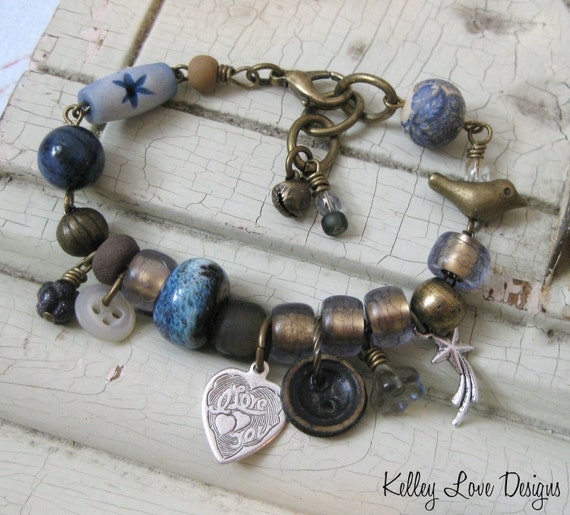 SPARROW Earthen GYPSY Charm Bracelet in Blue with BIRD, Vintage Beads, Buttons