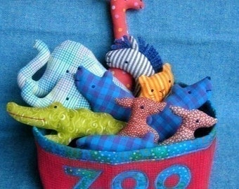 Zoo Set - Little Softies PDF sewing pattern, INSTANT DOWNLOAD, Zoo Animals pattern, Soft toys for babies and toddlers, Elephant, Giraffe