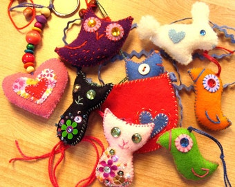 Lucky Charms - EMAIL PDF sewing pattern, Small Felt ornaments, hand sewn felt accessories, Stocking stuffers, Christmas Ornaments
