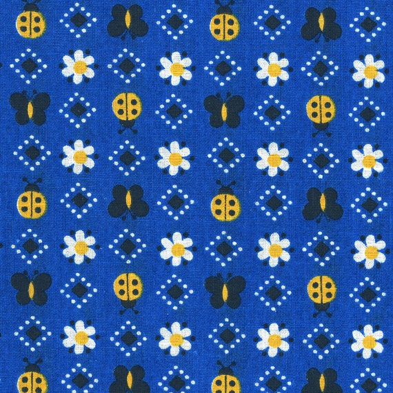 Vintage cotton fabric - butterflies, ladybugs and daisies