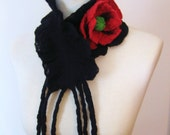 Felted Black  Scarf  with  Felted Red Poppy