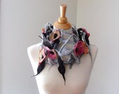 Flowers Everywhere Scarf - Hand Felted -Hand Dyed
