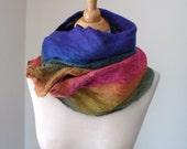 Felted Scarf  Rainbow Cobwed Merino