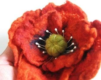 Rusty Orange Poppy Pin / Felted Flower Pin