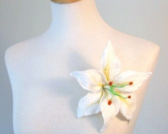 Lily Brooch/ Pin. Hand Felted