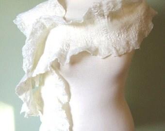White Scarf. Felted Wool Scarf with Silk Fibers