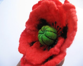 Orange Poppy Pin /Felted Flower Pin