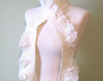 White Felted Scarf   Merino Silk and Ruffles