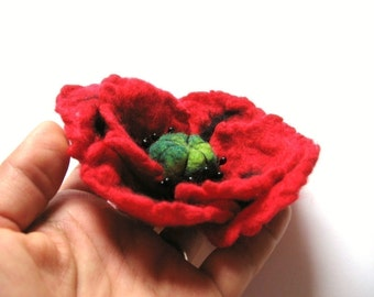Red Poppy Pin  .Felted Flower Pin
