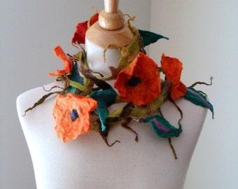 Orange Flowers Everywhere- Hand Felted Scarf