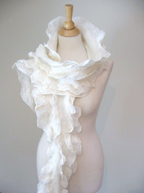White Ruffled Scarf . Felted Scarf in Merino Wool