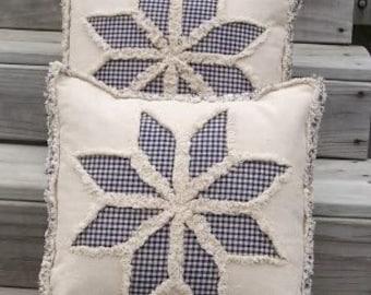 Primitive Country 8 Point Star Reverse Applique Pillow Cover E Pattern PDF