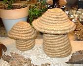 Nik's Special Earthy Handwoven Basketry Mushroom Stashies  Pair
