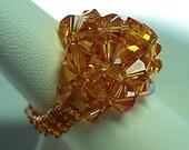 WonderDome Swarovski Crystal Beaded Topaz Ring