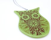 Lime Green Glass Owl Ornament FREE SHIPPING (to USA)