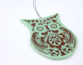 Sage Green Big Eyed Owl Ornament FREE SHIPPING (to USA)