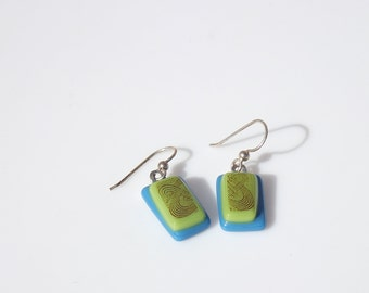 Handmade Turquoise and Lime Art Deco Earrings FREE SHIPPING (to USA)