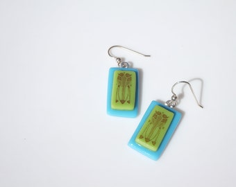 Birthday Gift, Turquoise and Lime Art Deco Earrings FREE SHIPPING (to USA)