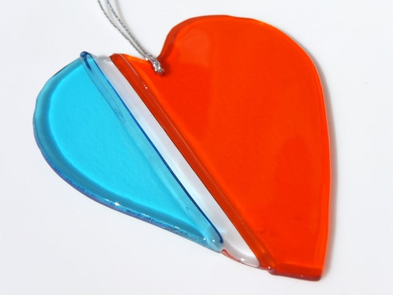 Holiday Ornament, Gift, Handmade Glass Heart Ornament, FREE SHIPPING (to USA)