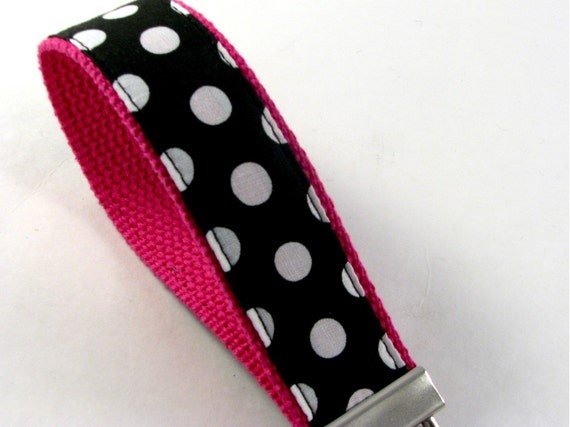 Wrist Key Chain in Black & White Polka Dot on Pink