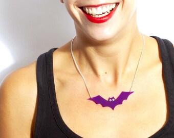 Purple Bat Necklace