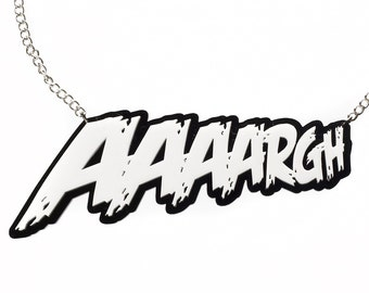 White AAAARGH Necklace- SALE