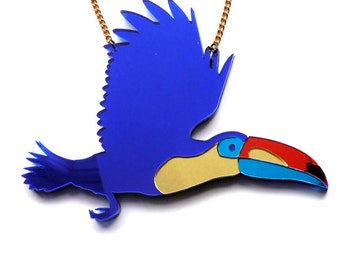 Toucan Necklace - Blue Mirrored