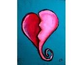 Broken Heart Original Folk Art Painting ACEO Art Card