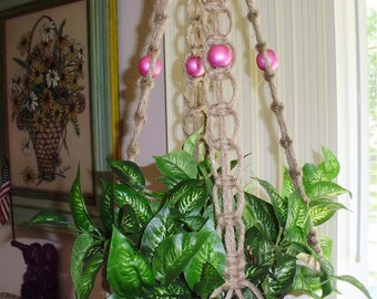 Macrame Plant Hanger COTTAGE ROSE Hanging Planter Holder