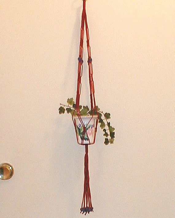 Berry Grape Mini Macrame Plant Hanger And Flower By