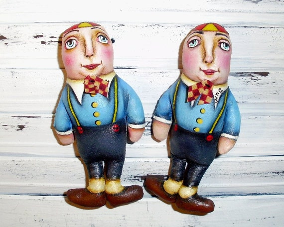 Tweedle Dee and Dum Alice In Wonderland Folk Art Dolls