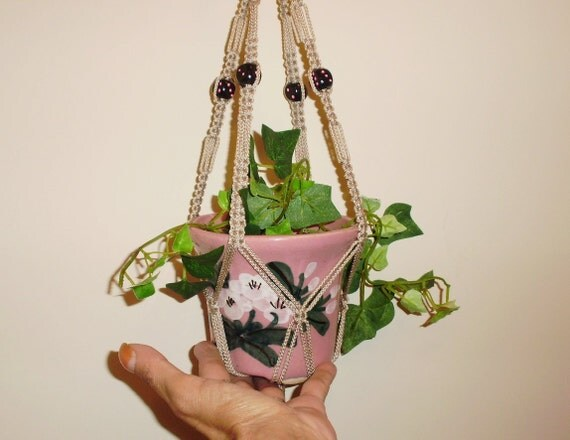Lucky Small Macrame Plant Hanger BLACK and PINK DICE Beads