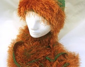 Green and Copper Fluffy Knitted Hat and Scarf Set
