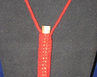 Large Red Needle Case Necklace