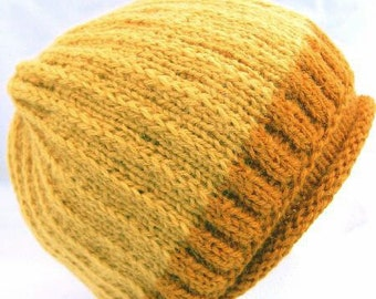 Double Knitted Reversible Ribbed Cap in Shades of Pumpkin