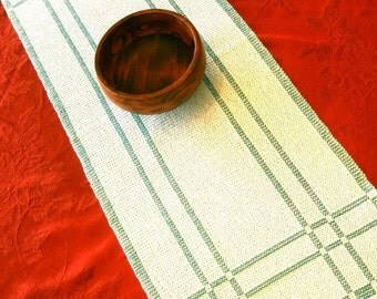 Green and White Reversible Handwoven Table Runner