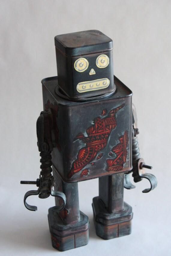 "robot ""the dim bulb"" found object sculpture"