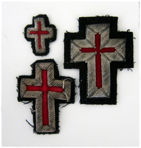 Vintage Catholic Silver Thread and Velvet Crucifixes for Applique or Jewelry