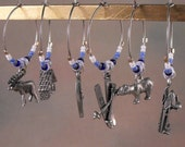 Winter Cabin in Alaska White and Blues Wine Charm Set of 6-WC4