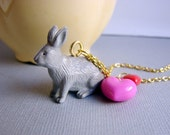 CLOSING SALE- Necklace- Little Gray Rabbit with Hot Pink and Red Heart Charms