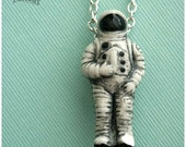 "Astronaut clay charm, Space Man, Galaxy, 20 inch COPPER necklace, ""Mission Possible""."