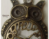 Brass Owl and Clock Necklace, vintage inspired 24 inch pendant necklace.