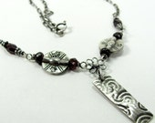 Garnet and Fine Silver Necklace