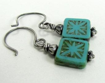 Turquoise Czech Glass, Sterling Silver, Sunburst Earrings