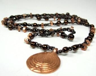 Crochet, Copper, Czech Glass, Boho Necklace