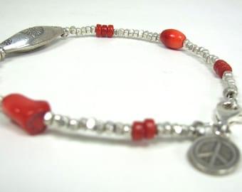 Hill Tribe Fine Silver, Coral  Bracelet