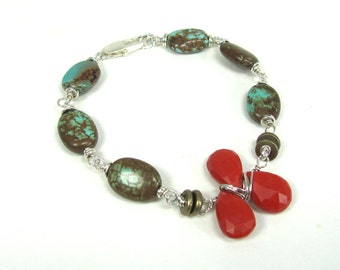 Turquoise, Cinnabar, Brass and Sterling Silver Bracelet