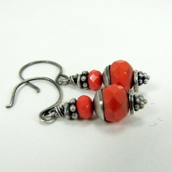 Orange Czech Glass, Sterling Silver Earrings